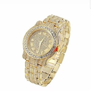 Men Pave Crystal 18K Gold Watches MADE IN Italy